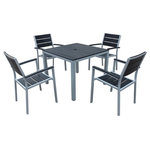 Harmonia Living - Harmonia Living Brasserie 5-Piece Square Patio Dining Set With Arms - Sleek modern styles give the 5 Piece Brasserie Dining Set with Arms a look that's perfect for any high-traffic residential or commercial dining environment. The frame is constructed from sturdy aluminum with a matte Silver powder coated finish. Its Black finished tops and seats create a starkly contrasting look that exudes modern appeal. The slats are made from Marine Grade Polymer (MGP) synthetic boards with a sublet wood grain imprint, providing high durable and style. The boards are infused with UV inhibitors plus the color runs throughout the entire lumber (not just on the surface) to ensure longevity. Stylish, low maintanence and commercial grade.