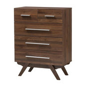 Auburn Mid-Century Modern Walnut Brown Wood 5-Drawer Chest
