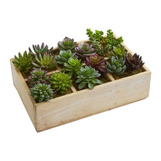 """Nearly Natural 12"""" Mixed Succulent Garden in Tray Artificial Plant"""