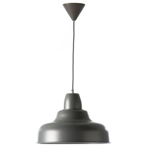 Large Industrial Pendant Lamp, Silver