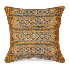 "Liora Manne Marina Tribal Stripe Indoor/Outdoor Pillow, Gold, 18"" Square"