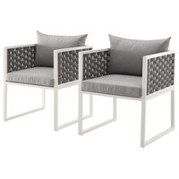 Modern Outdoor Dining Chair Armchair, Set of 2, Fabric Aluminium, White Gray