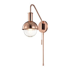 Riley Wall Sconce with Plug - Polished Copper Finish