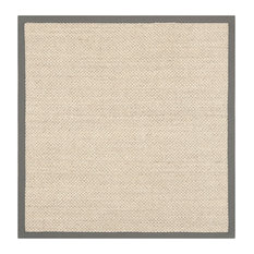 Safavieh Natural Fiber Collection NF443 Rug, Marble/Grey, 4' Square