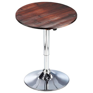 Franc Height Adjustable Poseur Rustic Bar Table, Chrome, Brown, 93x60 cm