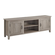Farmhouse TV Stand 2 Center Open Shelves And 2 Side Cabinets Grey Wash