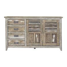 Reclaimed Pine 2-Door Sideboard, 4 Drawers