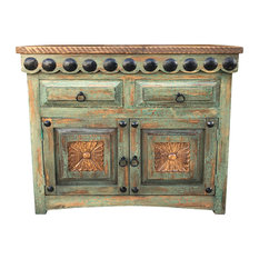 """Salamanca 36"""" Vanity With """"Clavos"""", Crackle Turquoise"""