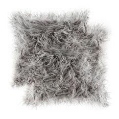 "Frisco Mongolian Sheepskin Faux Fur Pillows, Set of 2, Sage Gray, 20""x20"""