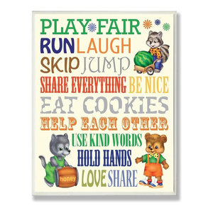 Play Fair, Run and Laugh Colorful Typography