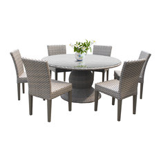 """Oasis 60"""" Outdoor Dining Table With 6 Armless Chairs"""