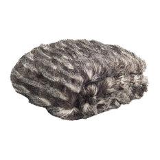 Faux Pheasant Throw Blanket, Black and Gray