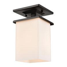 Broad Street 1 Light Outdoor Ceiling Light in Textured Black