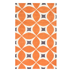 Hand-Tufted Gabriela Area Rug, Deep Orange, 6'x9'
