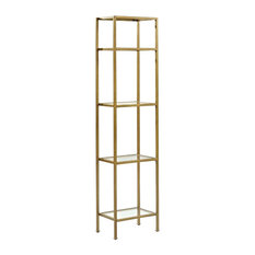Pemberly Row Narrow Open Display Case, Gold