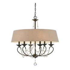 6 Light Dawson Chandelier with Burlap Shade, Oil Rubbed Bronze Finish, Brown