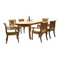 """7-Piece Outdoor Teak Dining Set, 94"""" Extension Oval Table, 6 Giva Arm Chairs"""