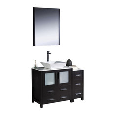"42"" Modern Single Sink Vanity, Espresso, White Ceramic Vessel Sink, FFT1044CH"