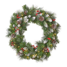 """24"""" Mixed Spruce LED Artificial Christmas Wreath, Green"""