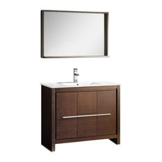 "Fresca Allier 40"" Wenge Brown Modern Bathroom Vanity, Mirror"