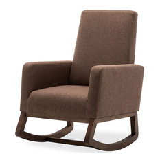 Fabric High Back Armchair Upholstered Rocking Chair Padded Seat Wood Base, Brown