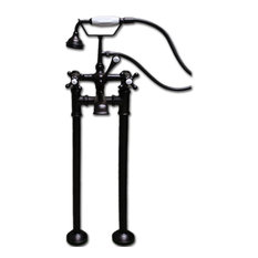 Freestanding H-Frame Supply Lines Faucet & Hand Held Shower Combo BRZ