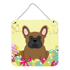 Easter Eggs French Bulldog Black Wall Door Hanging Prints Contemporary Outdoor Wall Art By The Store