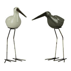 White and Brown Ceramic Shore Bird Statues with Metal Legs Set of 2
