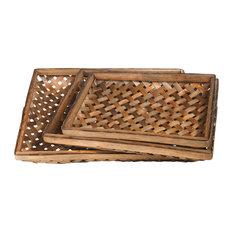 Wood Basket Varnish Finish Brown