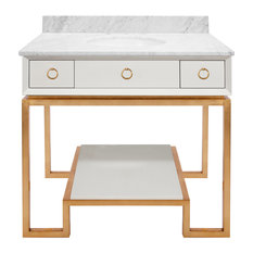 Worlds Away Owen Bath Vanity, White Gold