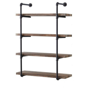 Industrial Shelving Unit, MDF and Iron Metal, 4 Shelves, Brown Finish
