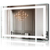 """48""""x36"""" Hardwired Bathroom Led Lighted Backlit Mirror With Square Design"""