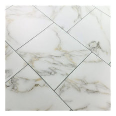 """8""""x8"""" White and Gold Calacata Marble Look Glass Wall Tile, Set of 30"""