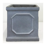 Faux Lead Chelsea Box Square Grey Light Stone Planter, 22Cm