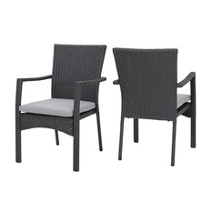 GDFStudio - Tigua Outdoor Gray Wicker Dining Chair With Cushions, Set of 2 - Outdoor Dining Chairs