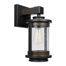 Globe Electric - Williamsburg 1-Light Dark Bronze Wall Mount Sconce with Seeded Glass Shade - Wall Sconces
