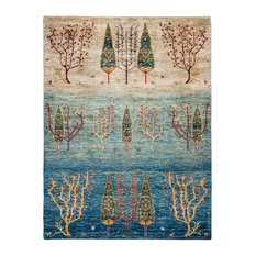 """Tribal Hand Knotted Area Rug, Blue, 5'0""""x6'4"""""""