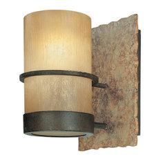 Bamboo, Vanity, 1 Light, Bamboo Bronze, Natural Slate Finish, Bamboo Glass