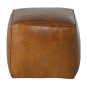 Light Brown Square Leather Ottoman