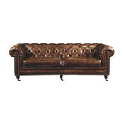 "Beomara 89"" Tufted Leather Sofa, Brown"