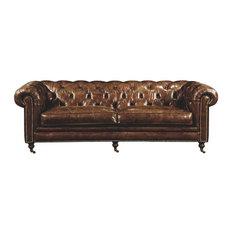 Beomara 89-inch Tufted Leather Sofa Brown