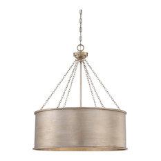 6 Light Pendant, Silver Patina