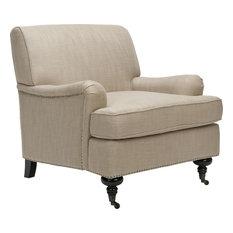 Chloe Club Chair, Antique Gold, Espresso, Black, Fabric, With Nail Head
