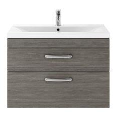 Wall-Hung Bathroom Vanity Unit, Grey Avola, 2 Drawers, Narrow Rim Basin, 80 cm