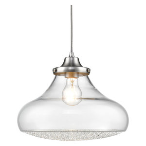 Asha 1-Light Large Pendant Pewter Clear Crushed Crystal Glass