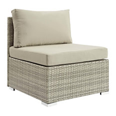Repose Sectional Sofa Outdoor Wicker Rattan Armless Chair, Light Gray/Beige