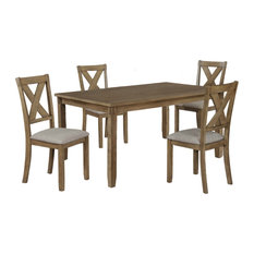 5 Piece Dining Set With 4 Fabric Padded Chairs And 1 Table Brown/Gray