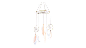 Dreamcatcher Feather Mobile, Peach and White