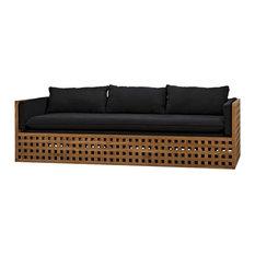 86-inch L Sofa Solid Natural Teak Wood Lattice Detail Black Cotton Upholstery