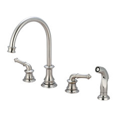Two Handle Kitchen Widespread Faucet, PVD Brushed Nickel